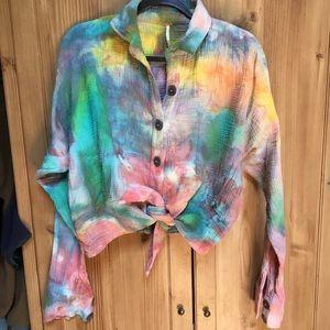Free People tie dye sun streaks tie front blouse